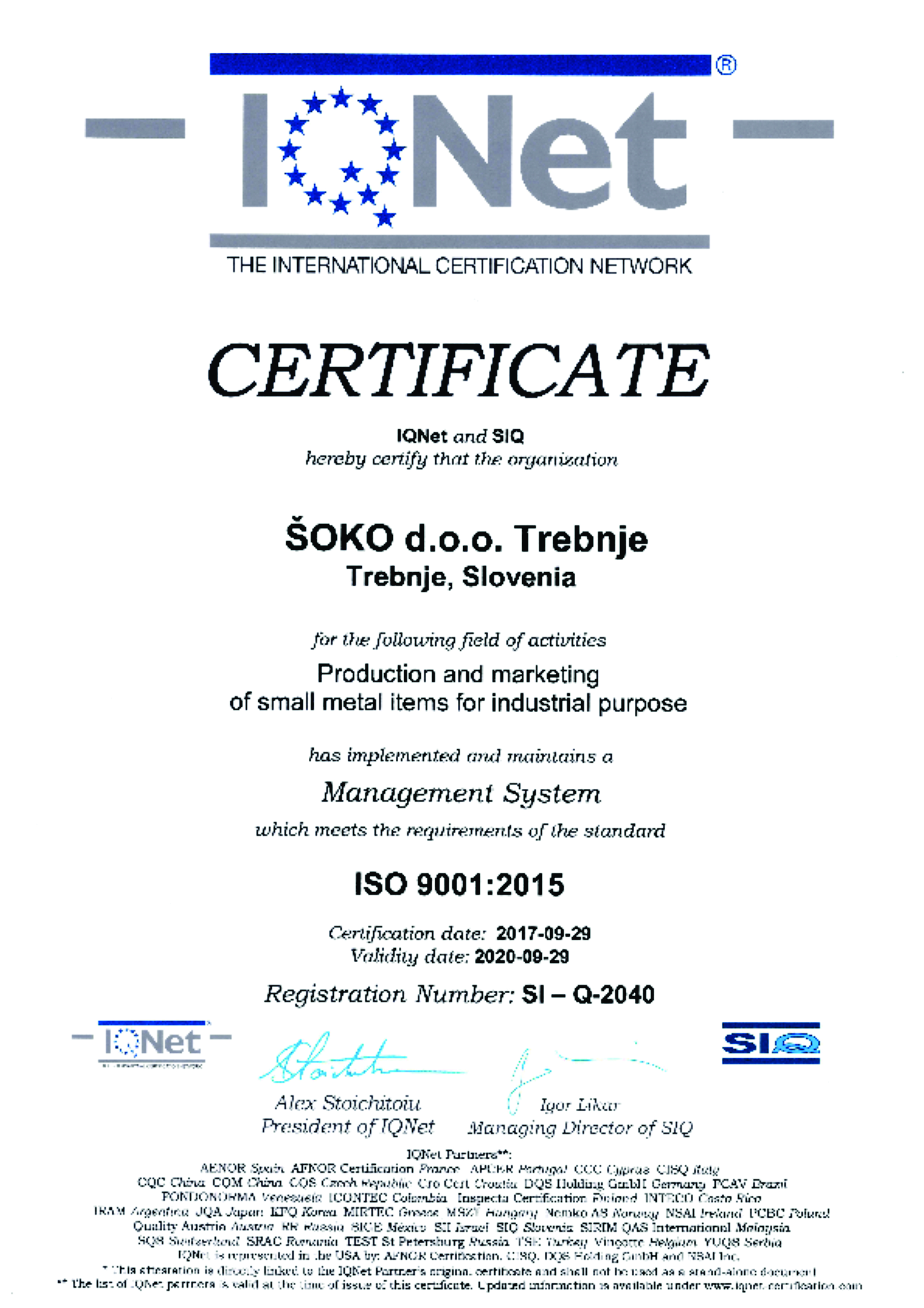 ISO 9001 - 2015 (IQNET)