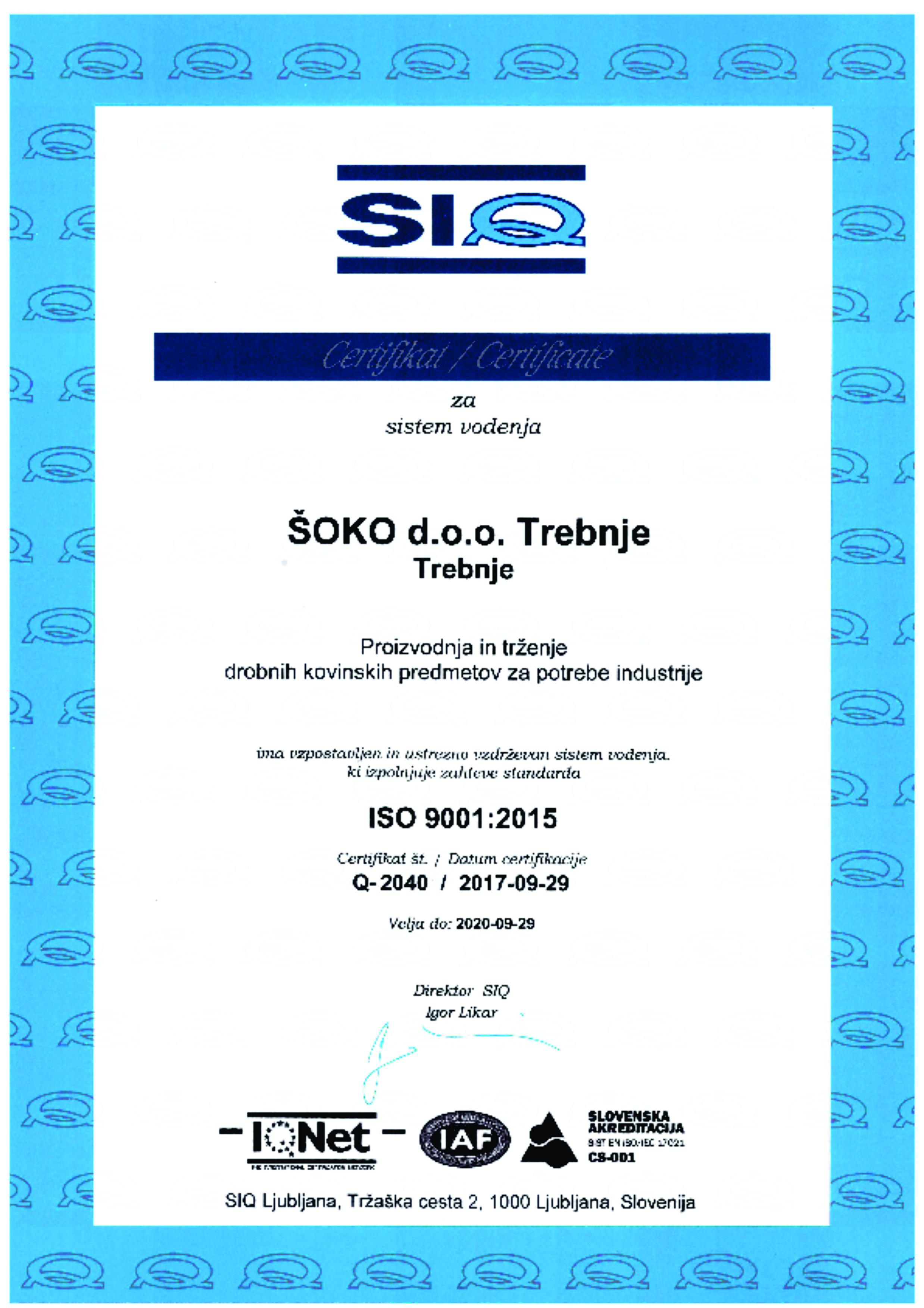 ISO 9001 - 2015 (SIQ)